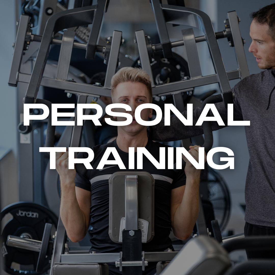 Man working out under watchful eye of Personal Trainer with bold text reading personal training